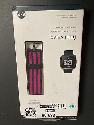 $ CDN10.14 • Buy New Genuine FITBIT PH5 Versa Knit Accessory Band Pink/Black Size Small