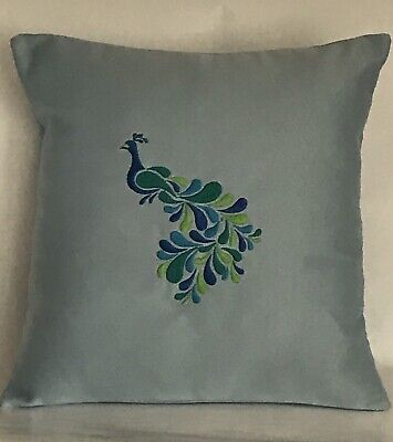 """Peacock Embroidered Cushion Cover 14""""x14"""" • 10£"""