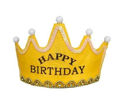 Happy Birthday LED Light Up Prince PrincessCrown Party Hats Yellow • 3.99£