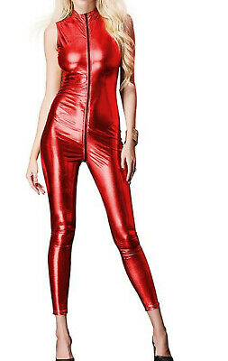 £23.99 • Buy Sexy Red Liquid Metal Style Catsuit / Jumpsuit Crotch Zip High Neck Sleeveless