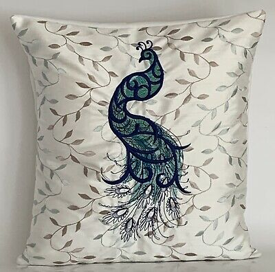 """Peacock Double Embroidered Cushion Cover 14""""x14"""" **Last One** • 10.50£"""