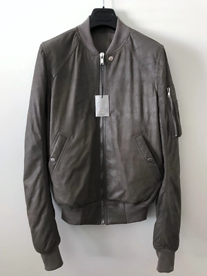Rick Owens EU48 Small Blistered Lambskin Padded Leather Bomber Jacket FW18 • 696.21£