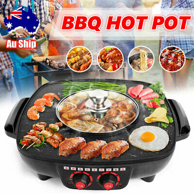 AU41.95 • Buy Electric BBQ Hot Pot Pan Plate Shabu Oven Grill Boil Cook Barbecue Hotpot AU
