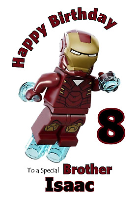 Lego Iron Man Personalised A5 Birthday Card - Any NAME AGE RELATION • 2.95£