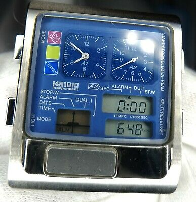 Citizen Digi Ana Temp Large Case 1481010 Rare Blue Dial From Japan • 235.90£
