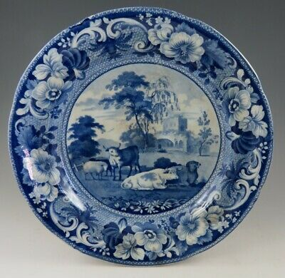 Antique Pottery Pearlware Blue Transfer John Meir Kirkham Priory 9.5  Plate 1820 • 9.99£