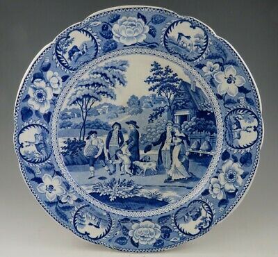 Antique Pottery Pearlware Blue Transfer Beemaster Pattern 10  Dinner Plate 1820 • 94£