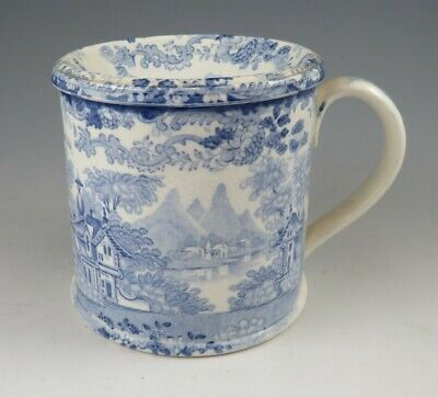 Antique Pottery Pearlware Blue Transfer Spittoon With Removable Funnel 1830 • 11.50£