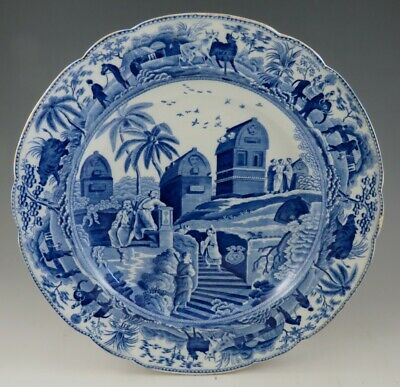 Antique Pottery Pearlware Blue Transfer Spode Caramanian 10  Dinner Plate 1810 • 10.50£