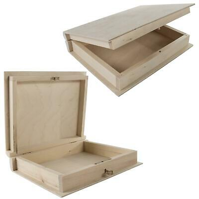 Wooden Book Shaped Box | Optional Key | Memory Keepsake Card Collectables Case  • 11.95£