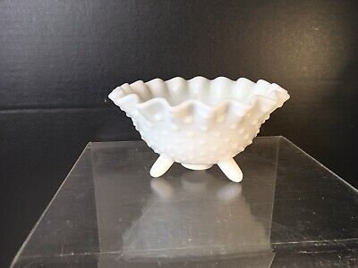 $8 • Buy Vintage Milk Glass Hobnail Fluted Candy Dish Compote Bowl Footed Scallop Edge