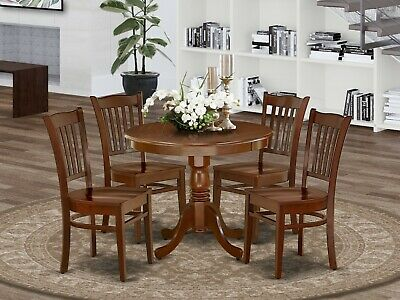 $515 • Buy 5pc Antique Dinette Set Round Pedestal Kitchen Table With 4 Wood Chairs Mahogany