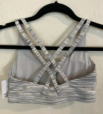 $ CDN46.23 • Buy NWT Lululemon Size 10 Energy Bra Gray White Stripe DSAC