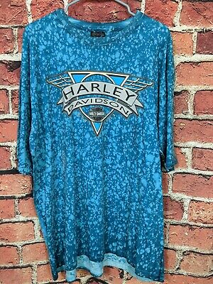 $ CDN113.34 • Buy Vintage 90s Harley Davidson All Over Print T Shirt Size XXXL Aqua Oversized