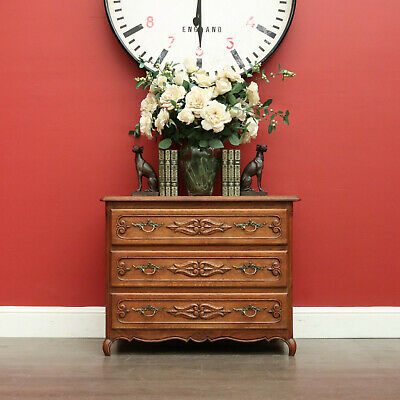 AU595 • Buy Antique French Oak Chest Of Drawers, Hall Cabinet Of 3 Drawers, Bedside Chest