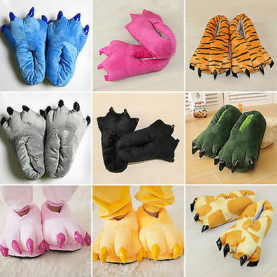 £8.50 • Buy Adult Kids Animal Monster Feet Slippers Claw Dinosaur Paw Plush Funny Shoes