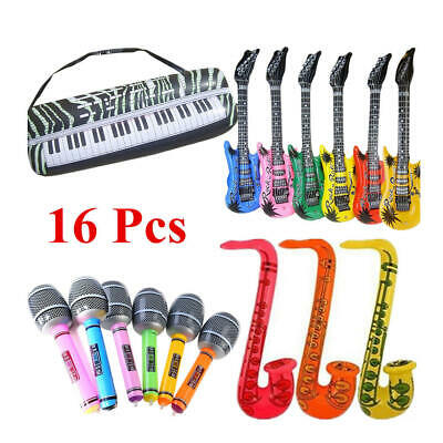 16x INFLATABLE MUSICAL INSTRUMENTS FESTIVAL PARTY ACCESSORIES - 4 Style Set • 11.51£