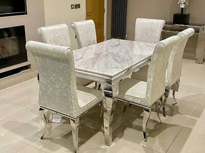 £1230.66 • Buy Louis White Marble Dining Table Chrome Lucy Cream Crushed Velvet Dining Chair