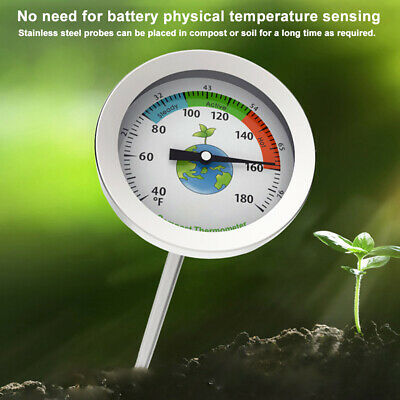 Compost Thermometer Garden Soil Ground Dial Display Stainless Steel Easy-to-Read • 11.59£