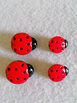 10  Red And Black Ladybird Buttons -crafts,garments Or Knitwear - 13x15mm • 2.20£
