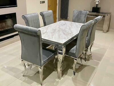 £413.05 • Buy Louis White Marble Dining Table Chrome Legs And Lucy Grey Brushed Velvet Chair