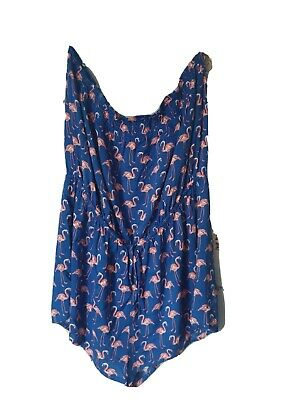 Ex M & S Royal Blue With Pink Flamingo Print Summer Bandeau Playsuit  20 • 4.98£
