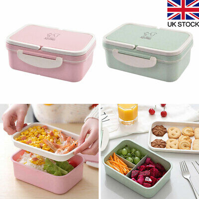 3Compartments Lunch Box For Kid Adults Food Container Set Bento Storage Boxes UK • 7.99£