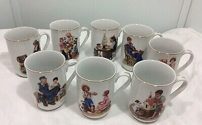 $ CDN52.85 • Buy Vintage Norman Rockwell 1982 Museum Collection Set Of 8 Coffee Mugs