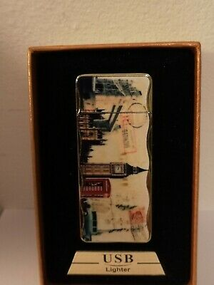 Usb Lighter London Bridge Enamel Wind Proof And Brand New With Usb Cable. • 8.99£