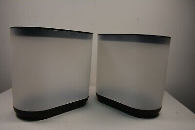 $29 • Buy (2) Room Essentials Waist Trash Can Slim Frosted White Black Lid Lot 007-SH