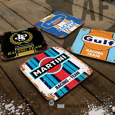 Retro Motor Racing Drinks Coaster Collection. Mancave Shed Garage Office Sport • 10£