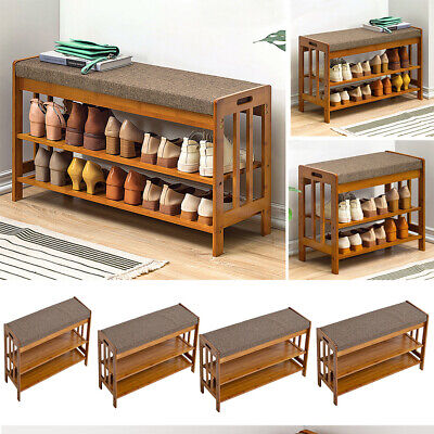 £35.95 • Buy 3-Tier Ottoman Shoe Storage Bench Cabinet Padded Seat Shoes Bench Organizer Rack