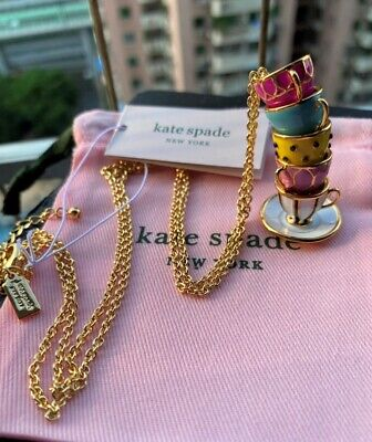 $ CDN35.99 • Buy Kate Spade New York  Pink TEA TIME CUPS Coloured PENDANT LONG NECKLACE