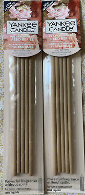 2x Yankee Candle Pre-Fragranced Reed Refill Sticks In Fresh Cut Roses Scent NEW • 15£