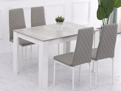 £224.99 • Buy Wooden Modern Marble Effect Dining Table And / With 4 Grey Chairs Dining Set