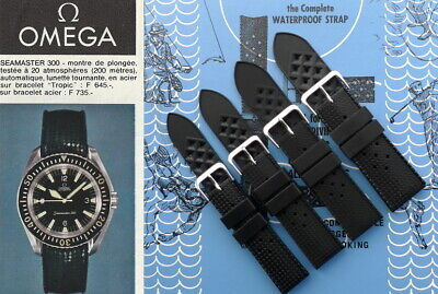Tropic Type Silicone Rubber Watch Strap For Omega Seamaster. Diver Watch Band. • 20£