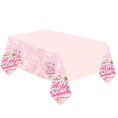 Pink First Holy Communion Plastic Tablecover Party Tableware Decoration • 3.99£