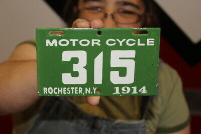 $ CDN13.12 • Buy Rochester New York Motorcycle 1914 License Plate Gas Oil Porcelain Metal Sign