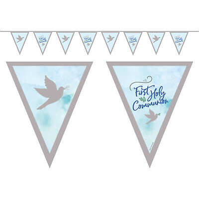 Blue  First Holy Communion Pennant Flag Bunting Banner Party Decoration • 3.99£