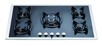 AU280 • Buy 86cm BLACK GLASS 5 BURNER GAS COOKTOP W/S - BRAND-NEW IN BOX - LPG JETS INCLUDED
