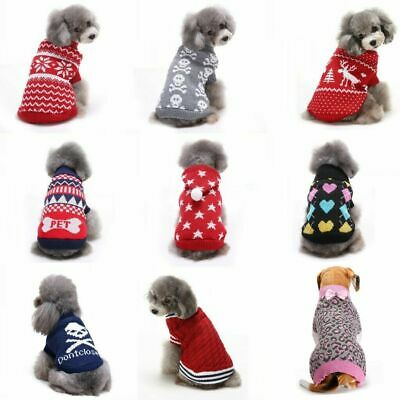 Autumn Winter Pet Clothes Knitted Puppy Dog Warm Sweater Jumper Dogs Coat • 7.59£