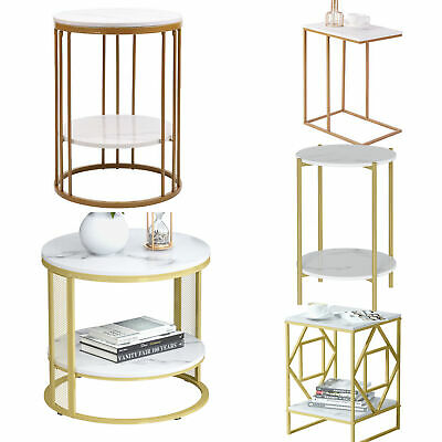 £50.96 • Buy Marble Topped Sofa Side Tables Minimalist Gold Legs Vintage Living Room Art Deco