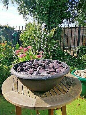 Large 42cm Solar Powered  Slate Pebble Pool Fountain Spray Garden Water Feature  • 59.99£