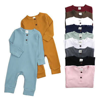 $13.69 • Buy New Baby Girl Boy Romper Bodysuit Solid One Piece Jumpsuits Pajamas Long Sleeve