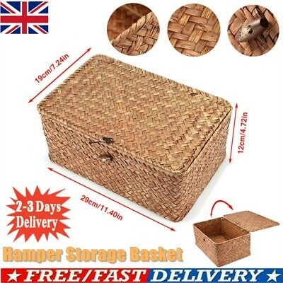 Large Storage Basket Box Seaweed Woven Wicker Hamper Gift Light Weight & Lid Uk • 8.98£