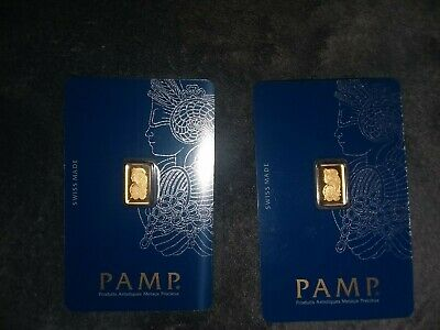$ CDN217.49 • Buy 1 Gram Gold Bar Pamp Suisse Lady Fortuna Veriscan Assay Lot Of 2 Sequential