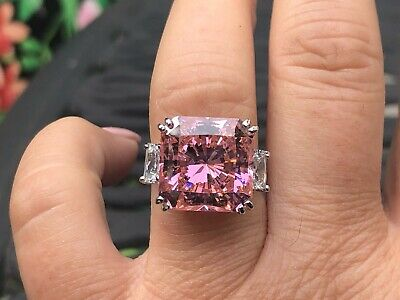 $100 • Buy Charles Winston Sterling Silver Pink & White BIG Cubic Zirconia Ring