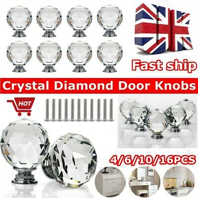 Clear Crystal Diamond Glass Door Knobs Cupboard Drawer Furniture Handle Cabinet • 6.95£