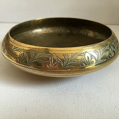 Vintage Small Indian Brass Bowl Etched Floral Decorative Decor • 15.99£