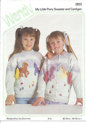Vintage Knitting Pattern For Girl's My Little Pony Sweater And Cardigan In DK • 2.25£